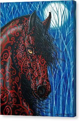 Moonsfyre Stallion Of Nyteworld Canvas Print by Beth Clark-McDonal