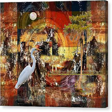 Moonshine Egret On Abstract Canvas Print