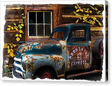 Moonshine Express Bordered Canvas Print by Debra and Dave Vanderlaan