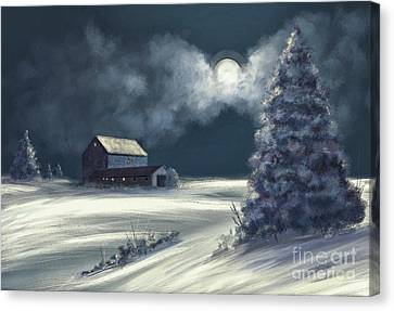 Canvas Print featuring the digital art Moonshine On The Snow by Lois Bryan
