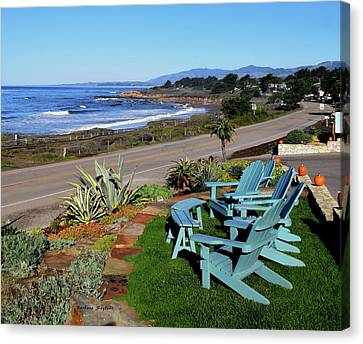 Canvas Print featuring the photograph Moonstone Beach Seat With A View by Barbara Snyder