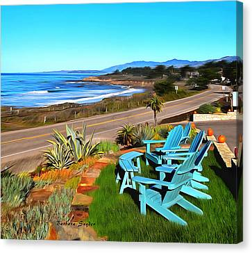 Canvas Print featuring the photograph Moonstone Beach Seat With A View Digital Painting by Barbara Snyder