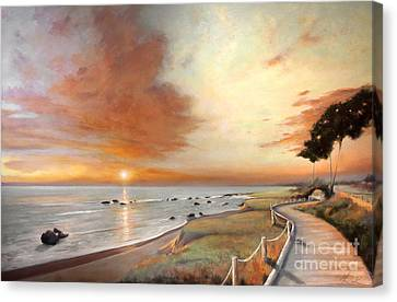 Moonstone Cambria Sunset Canvas Print by Michael Rock