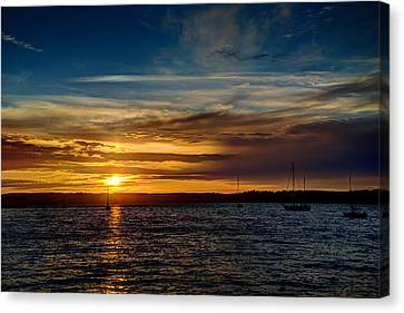 Moored At Penn Cove  Canvas Print by TL  Mair