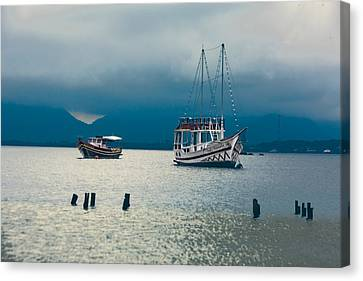 Canvas Print featuring the photograph Moored Boats by Kim Wilson