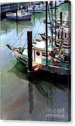 Canvas Print featuring the painting Moored Boats by Sergey Zhiboedov
