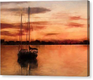Moored For The Night Canvas Print by Andrea Kollo