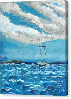 Moored In The Bay Canvas Print by J R Seymour
