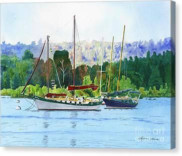 Moored Ketch Canvas Print by LeAnne Sowa