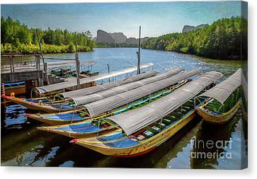 Moored Longboats Canvas Print
