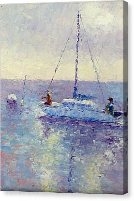Mooring The Sailboat Canvas Print by Terry  Chacon