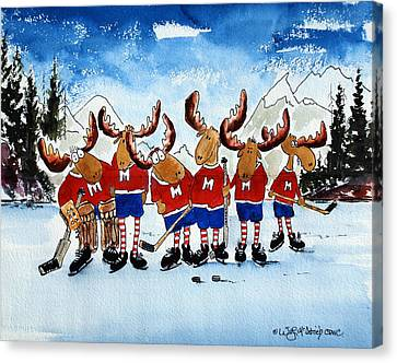 Moose Champs And Shinny Kings Canvas Print by Wilfred McOstrich