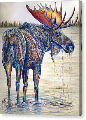Bull Moose Canvas Print - Moose Gathering, 2 Piece Diptych- Piece 1- Left Panel by Teshia Art