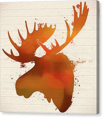 Rack Canvas Print - Moose Head Autumn Paint by Dan Sproul
