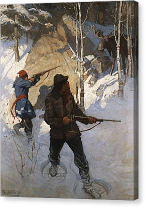Snow Scene Canvas Print - Moose Hunting by Newell Convers Wyeth