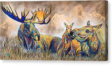 Bull Moose Canvas Print - Moose Meadows by Teshia Art