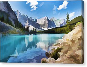Moraine Lake At Banff National Park Canvas Print by Lanjee Chee