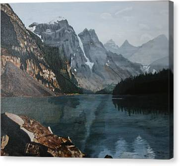 Canvas Print featuring the painting Moraine Lake by Betty-Anne McDonald