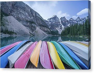 Moraine Lake Colors Canvas Print by Alpha Wanderlust