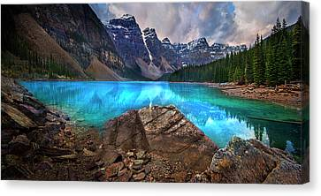 Canvas Print featuring the photograph Moraine Lake by John Poon