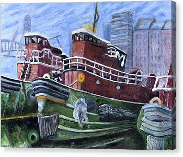 Moran Tugboats. Portsmouth New Hampshire Canvas Print by Maurice Pelissier