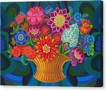 More Blooms In A Basket Canvas Print
