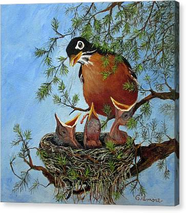 Canvas Print featuring the painting More Food by Roseann Gilmore