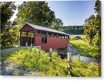 Moreland Covered Bridge Canvas Print by Jack R Perry