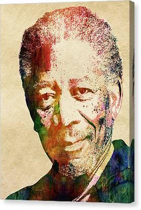 Morgan Freeman Canvas Print by Mihaela Pater