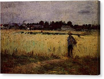Gennevilliers Canvas Print - Morisot Berthe In The Wheat Fields At Gennevilliers by Berthe Morisot