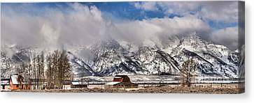 Canvas Print featuring the photograph Mormon Row Early Winter Panorama by Adam Jewell