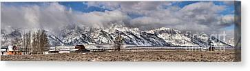 Canvas Print featuring the photograph Mormon Row Extended Panorama by Adam Jewell