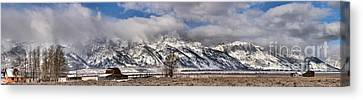 Canvas Print featuring the photograph Mormon Row Snowy Extended Panorama by Adam Jewell