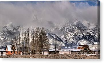 Canvas Print featuring the photograph Mormon Row Winter Morning Panorama by Adam Jewell