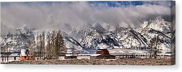 Canvas Print featuring the photograph Mormon Row Winter Panorama by Adam Jewell