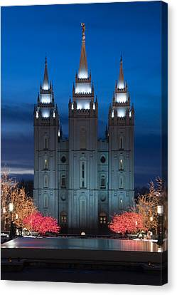 Mormon Temple Christmas Lights Canvas Print by Utah Images