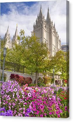 Mormon Temple Salt Lake City Canvas Print by Utah Images