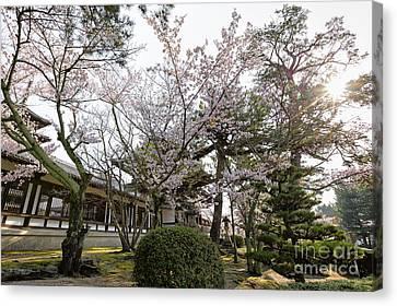 Morning At Horyu-ji Temple Canvas Print by Rhonda Krause