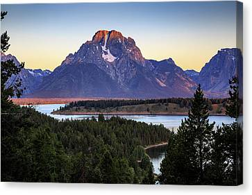 Canvas Print featuring the photograph Morning At Mt. Moran by David Chandler