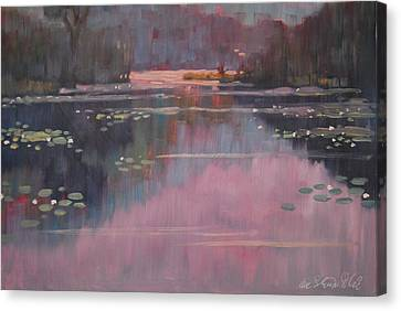 Morning At The Forth Pond Canvas Print by Len Stomski