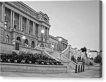 Canvas Print featuring the photograph Morning At The Library Of Congress In Black And White by Greg Mimbs