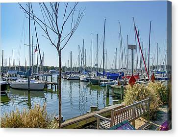 Canvas Print featuring the photograph Morning At The Marina by Charles Kraus