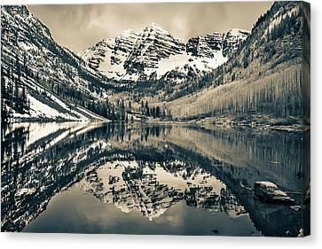 Morning At The Maroon Bells - Aspen Colorado - Sepia Canvas Print by Gregory Ballos