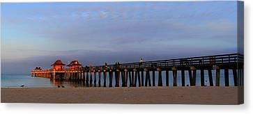 Morning At The Naples Pier Canvas Print by Sean Allen