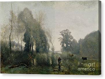 Peasant Canvas Print - Morning At Ville Davray by Jean Baptiste Camille Corot