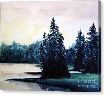Morning At Yellowstone Lake Canvas Print