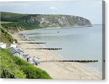 Morning Bay Looking Up Swanage Bay On A Summer Morning Beach Scene Canvas Print