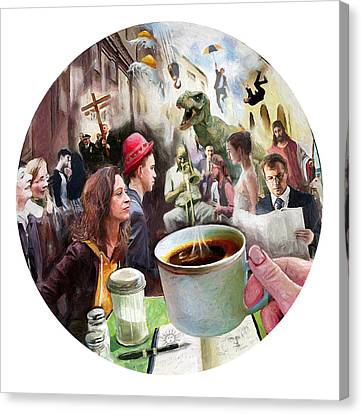 Morning Coffee With Eggs Over Easy Canvas Print