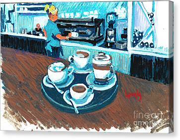 Morning Coffees Canvas Print by Candace Lovely