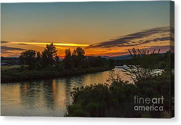 Morning Color Over The Payette River Canvas Print by Robert Bales